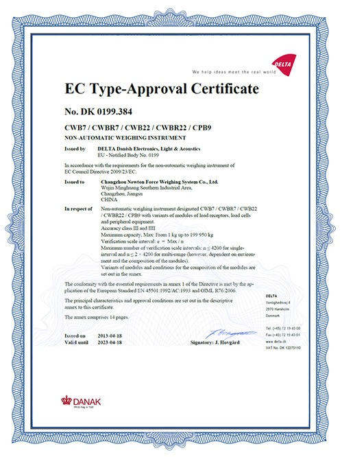 亿东C系列仪表欧洲认证证书