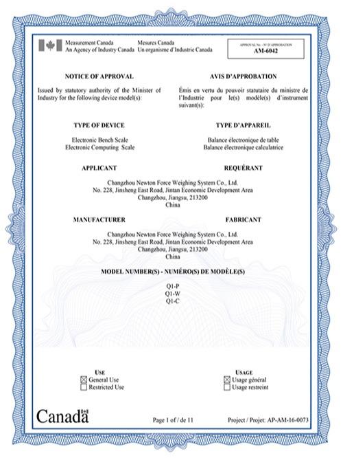 亿东Q系列电子秤加拿大认证证书