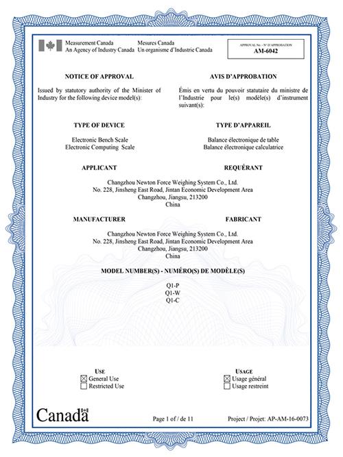 亿东欧洲认证证书(OIML)