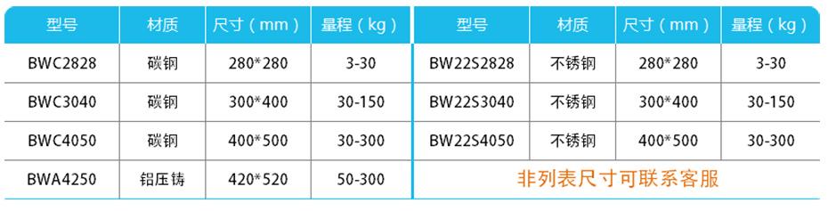 计数mini台秤-BW产品参数