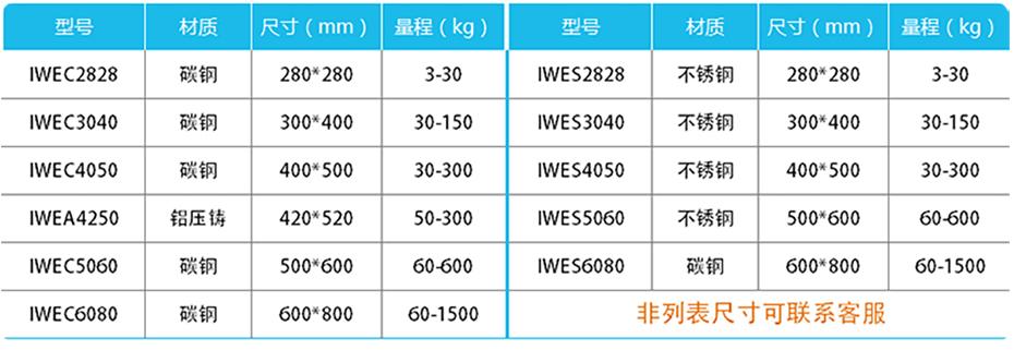 精度计重台秤-IWE产品参数
