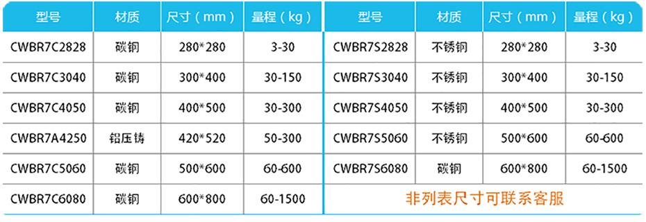 简易计数高精度台秤-CWBR7产品参数