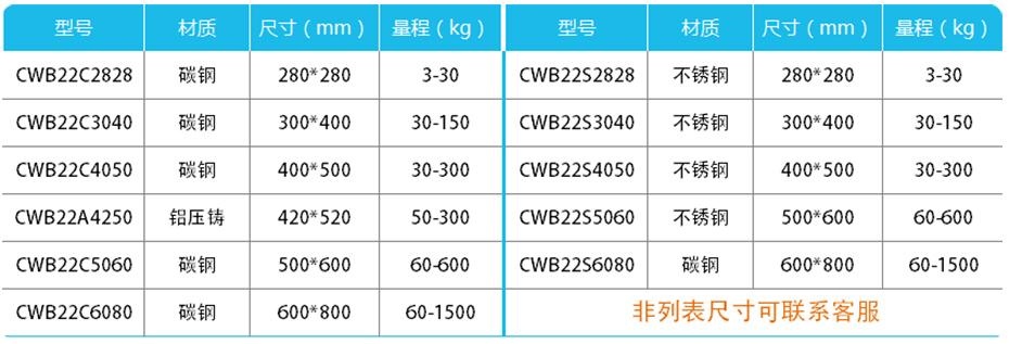 简易计数高精度台秤-CWB22产品参数