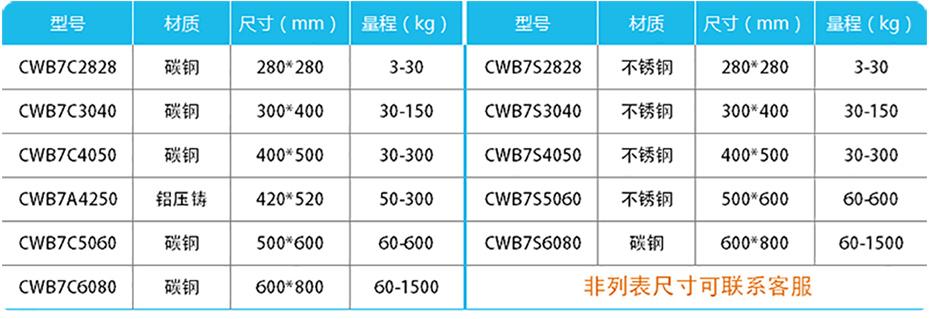 高精度计重台秤-CWB7产品参数